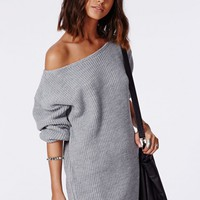 Missguided - Ayvan Off Shoulder Knitted Sweater Dress Grey
