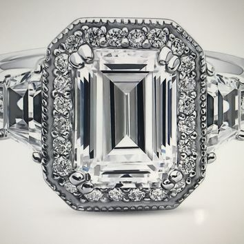 A Flawless 3.5CT Emerald Cut Halo Russian Lab Diamond Ring