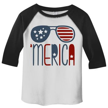 Shirts By Sarah Boy's Toddler 'Merica T-Shirt Glasses Hipster Independence 3/4 Sleeve Raglan