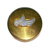 Vintage BOURJOIS Rouge Compact Evening in Paris 40s Art Deco Vanity Case 1940s Gold Silver Angel Wing Beauty Collectible Tin Pill Box Gift