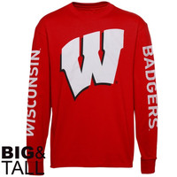 Wisconsin Badgers Big & Tall Back To Basics Long Sleeve T-Shirt - Cardinal