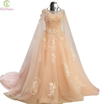 High-grade Lace Evening Dress The Bride Light Pink Sweet Appliques with Long Shawl Party Gown Custom Prom Dress