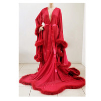 Luxury Sheer Fur Robe Lingerie. Feather trim robe with satin ties. 'Crimson Red' High quality lingerie
