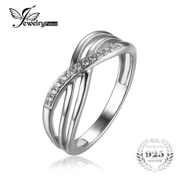 JewelryPalace Infinity Knot Cubic Zirconia Anniversary Promise Wedding Band Ring 925 Sterling Silver Women Jewelry On Sale