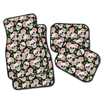 PINK Sugar Skull Car Mats, Set of 4 Floor Mats for your car!  2 Front, or all 4! Dia de los Muertos Car Mats.