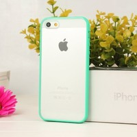 Zeimax® iPhone 5 5S Blurred Clear Back Cover, Silicone + TPU, Transparent Case Green