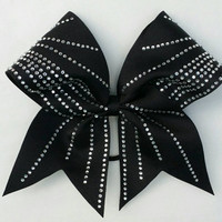 Bling cheer bow, black cheer bow with ponytail holder, rhinestone bow, cheerleading bow, baton, dance, 8 inch bow, grosgrain cheer bow