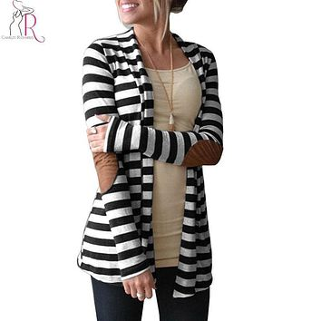Women Monochrome Stripe Cardigan Long Sleeve Pu Panel Open Front Casual Sweater 2017 New Spring Fashion Brief Slim Clothing
