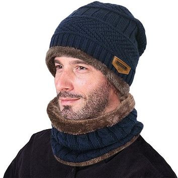 VBIGER Men's Winter Knitted Wool Cap and Infinity Scarf