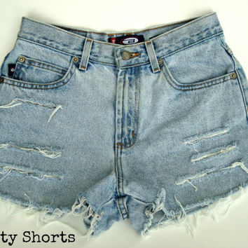 High Waisted Shorts Bongo Brand Light Wash Jean by shortyshorts