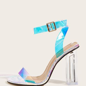 Holographic Ankle Strap Chunky Heels
