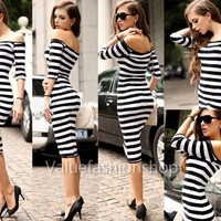 2014 Women Fashion Elegant Pinup Striped Dress Casual Stretch Party Wiggle Knee-Length Pencil Business Party Prom Sheath Bodycon Club Dresses S-XL#JY1603 = 1932318660
