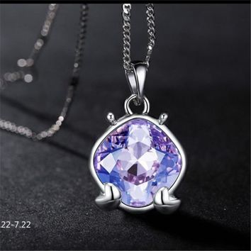 Tanzanite Crystal Silver Necklace