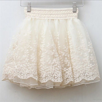 Skirt New  Korean Full Lace Embroidery Tulle Skirt Mini Skirts Fashion Woman Skirts Pleated Skirt 20217 GS