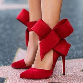 Shoes Women Big Bow Tie Pumps Butterfly Pointed Stiletto Shoes Woman High Heels Weddin