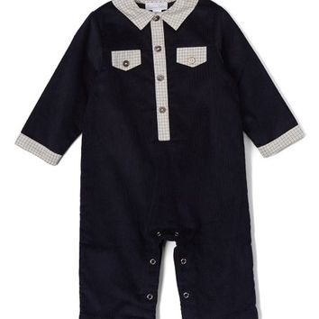 Navy Corduroy Polo Playsuit - Infant