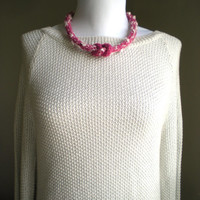 Alpaca Pink knitted necklace, Fabric bib necklace, Fiber yarn jewelry, Boho Women's accessories, Eco friendly