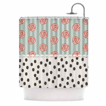 "Pellerina Design ""Mismatch Romantic"" Polkadot Floral Shower Curtain"