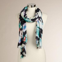 Black, Mint and Lavender Frayed Ends Scarf