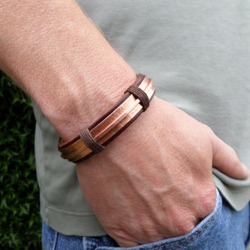 Men's Leather and Copper Bracelet, Men's Leather Bracelet, Men's Copper bracelet, Copper Bracelet, Leather Bracelet, Hammered Copper
