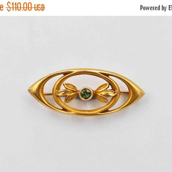 ON SALE Antique Art Nouveau 10K Gold and Green Tourmaline Bar Pin Brooch, Champenois & Co, Leaves, Openwork,Lingerie Pin, Lovely! #b727