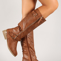 Buckle Zipper Trim Riding Knee High Boot