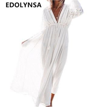 2017 White Rayon Beach Long Dress Swimwear Tunics Kaftan Beach Dress Beachwear Cover ups Robe de Plage Saida de Praia #Q274