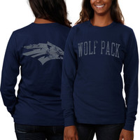 Nevada Wolf Pack Women's Long Sleeve Fitted Slab Serif T-Shirt – Navy Blue