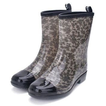 Women Mixed Colors Ladies Fashion Waterproof Non-Slip Low Heel Rain Boots