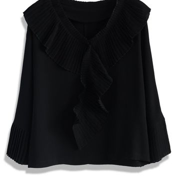 Pleated Frills Crepe Top in Black