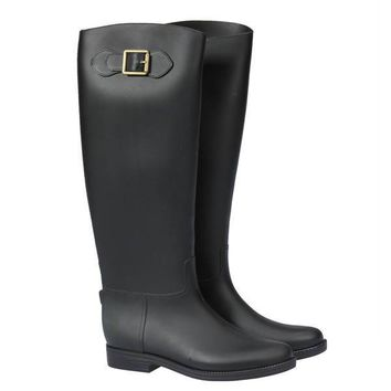 Women Over Knee High Flat Buckle Wellies Waterproof Rubber Rain Boots