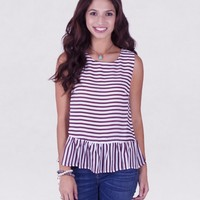 STRIPED PEPLUM - Tops - Womens