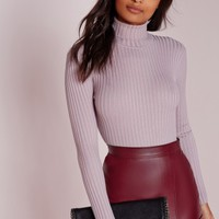 Missguided - Long Sleeve Polo Neck Bodysuit Mauve