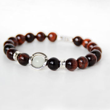 Luminous Pearl, Tiger Eye Beaded Bracelet Glow in the Dark