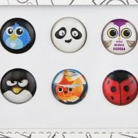 Bubble Buttons Home Button Sticker Animals Pack of 6