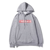 THE FACE hot seller of casual hoodies, fashionable vintage printed hoodies Gray