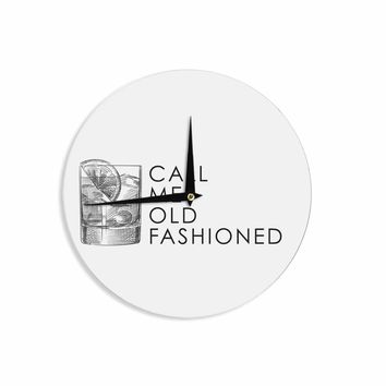 Old Fashioned - Black White Vintage Typography Digital Wall Clock