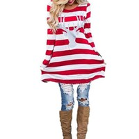 [15079] Striped Long Sleeve Glitter Reindeer Tunic Top