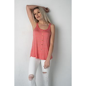 Coral and White Striped Button Tank