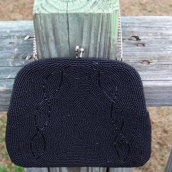 Vintage RICHERE Black Beaded Formal Handbag--Japan--Mid Century--Little Black Bag--Mod--Classy--Black Satin Lining--Purse--Classic Accessory
