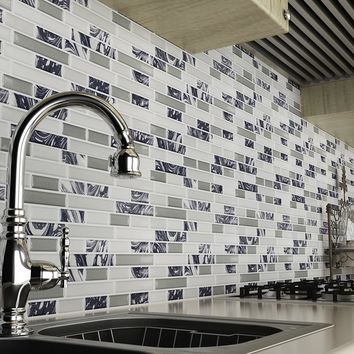 3D Self Adhesive Wall Tiles Clever Tiles Glitter Mosaic Self Adhesive Tiles Kitchen Wall Sticker 23.5*28cm LT30