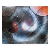 "Infinite Spray Art ""Starburst"" Black Red Galaxy Fleece Throw Blanket"