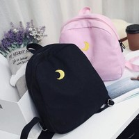 Black/Pink Harajuku Heart Moon Backpack sold by Moooh!!