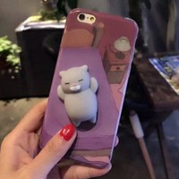 KISSCASE Cartoon Cute Cat Cases For iphone 6 6s 7 Case 3D Cat Claw Funny Squeeze Squishy Elastic Marshmallow Soft Silicon Case
