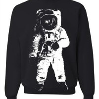 Space Astronaut Man on the Moon White Print Crewneck Sweatshirt - Black Medium