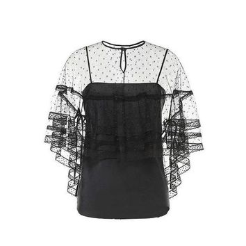 DCCKON3 Womens tops two pieces blouse Elegant dots mesh perspective lace half sleevesfemale shirts night club top
