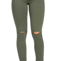 High Waisted Knee Slit Skinny Jeans in Olive