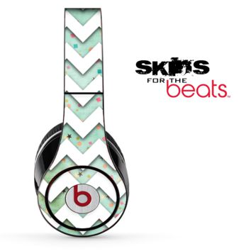 Vintage Green Spots and White Chevron Pattern Skin for the Beats by Dre Solo, Studio, Wireless, Pro or Mixr