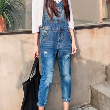 Streetstyle  Casual Denim Patch Pocket Ripped Light Wash Crop Overall