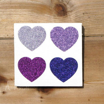Glitter Wood Heart Wall Art - 6x6 pine, 4 hearts,rustic wedding decor,mantle,ombre, heart wall art,country chic,anniversary gift,nursery